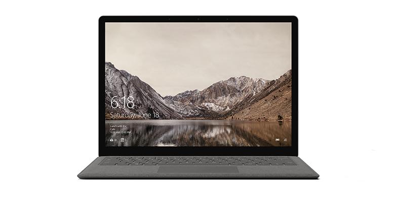 石墨金色 Surface Laptop 电脑的正视图