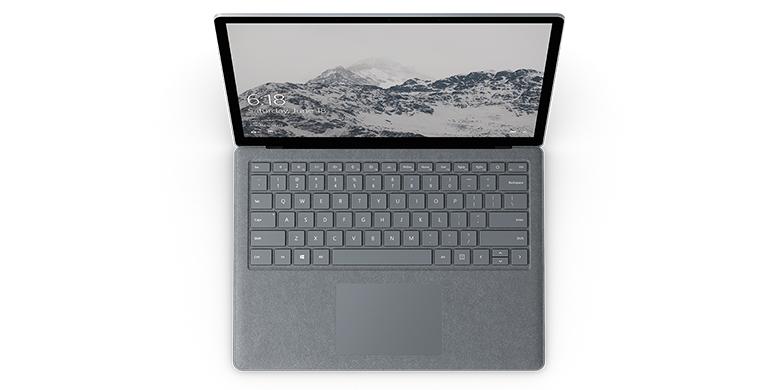 亮铂金 Surface Laptop 电脑的俯视图