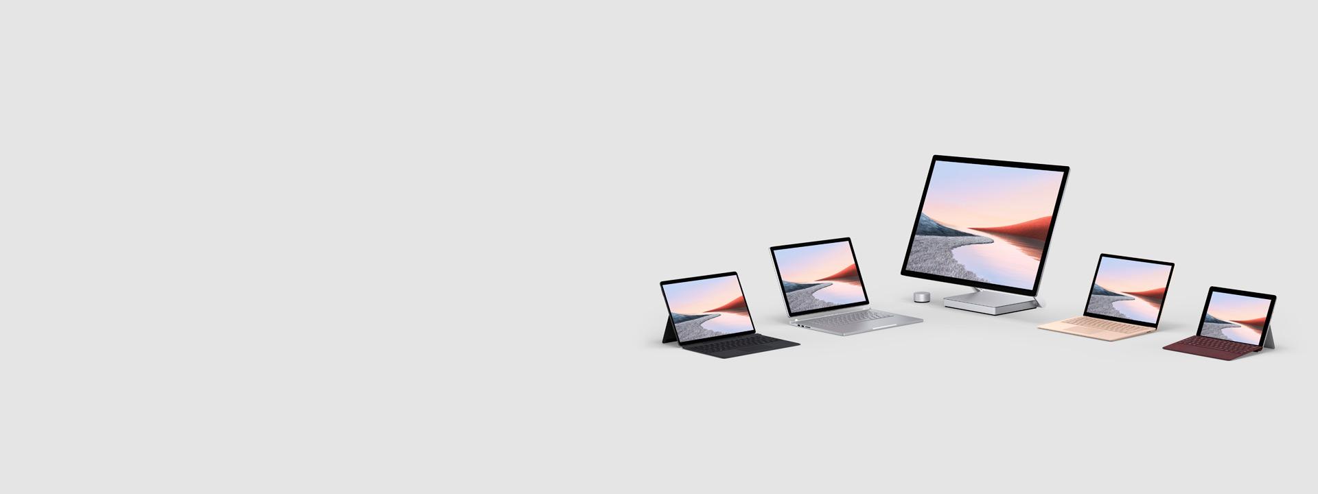 數臺 Surface 電腦,其中包括 Surface Pro 7、Surface Pro X 、Surface Book 2、Surface Studio 2 和 Surface Go