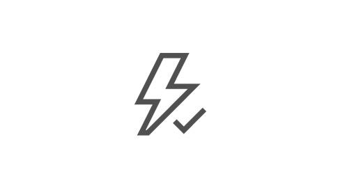 閃電和核取記號的圖示