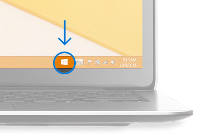 桌面右下角 Windows 圖示,外有圓圈