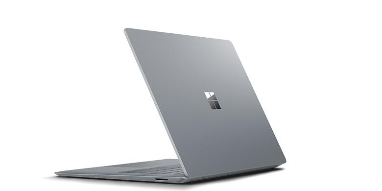 白金色 Surface Laptop 的後方畫面
