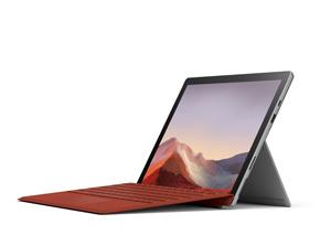 展示 Surface Pro 7 與鍵盤保護蓋