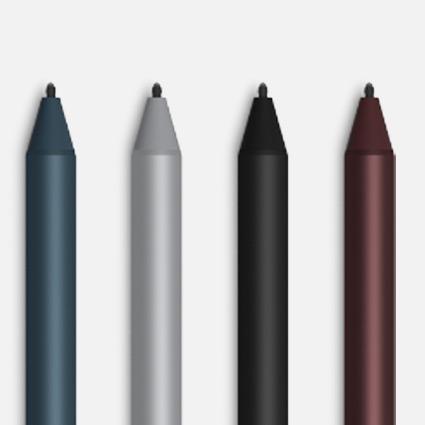鈷藍色、白金色、黑色和酒紅色的 Surface 手寫筆