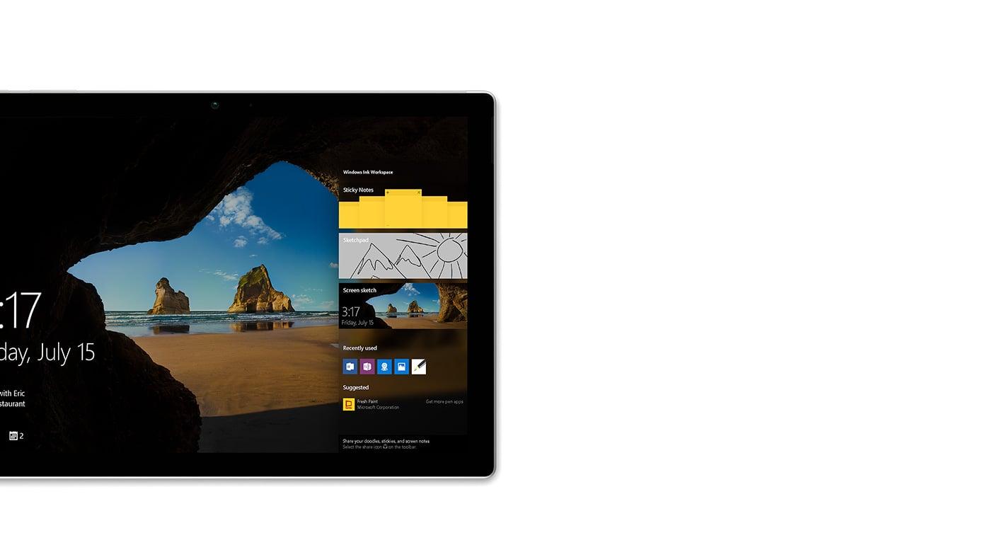 螢幕右邊照亮了 Windows Ink 工作區的 Surface Pro 4 鎖定螢幕。