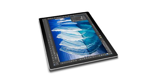Surface Book 處於筆記板模式的側視圖。