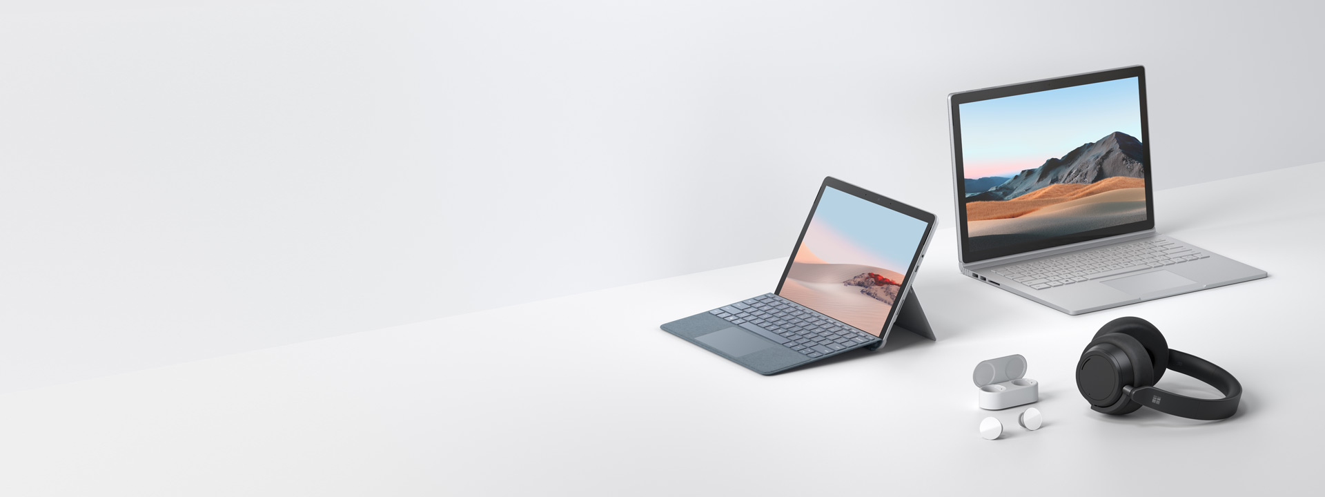 Surface 系列電腦包括 Surface Book 3、Surface Go 2、Surface Headphones 2 和 Surface Earbuds