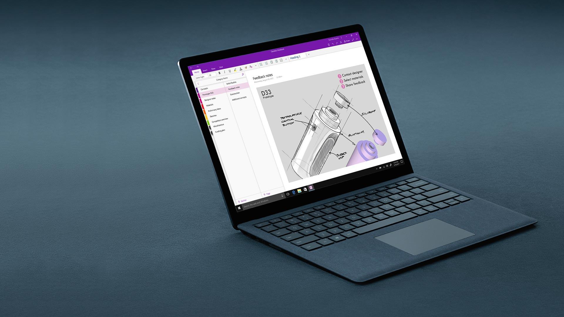 鈷藍色 Surface Laptop 顯示 One Note 畫面。