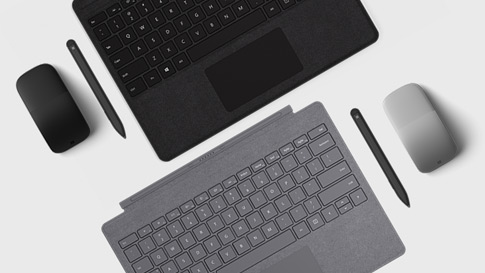 Surface 手寫筆和 Surface Dial 與 Surface Pro 的特寫