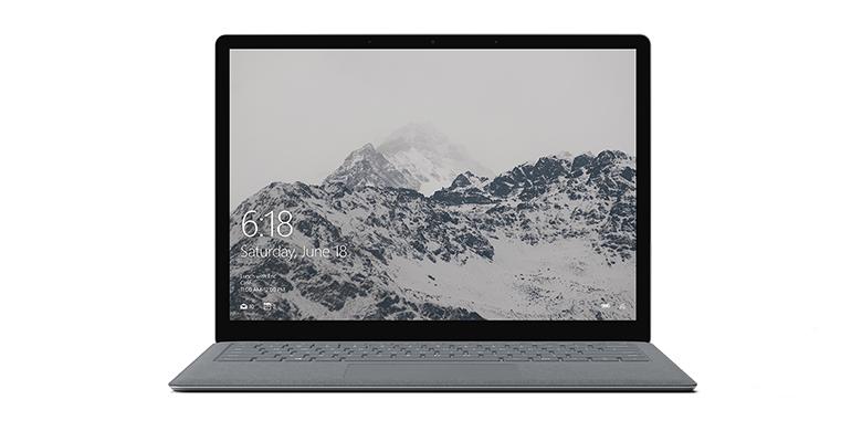 白金色 Surface Laptop 的前方畫面