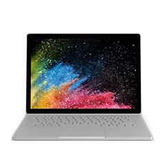 採用手提電腦模式的 Surface Book 2 與開始畫面。