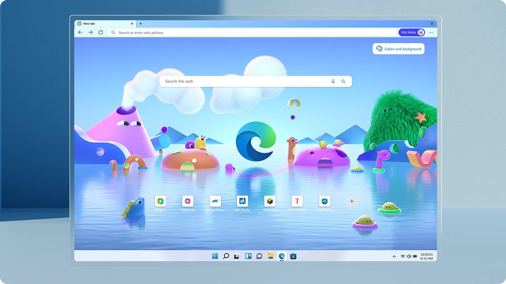 兒童模式中的 Microsoft Edge 畫面