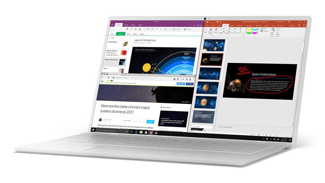 在 Windows 10 貼齊 Microsoft Edge、OneNote 和 PowerPoint