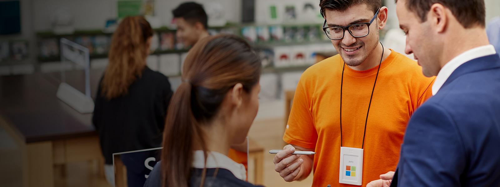 Microsoft staff helps customers