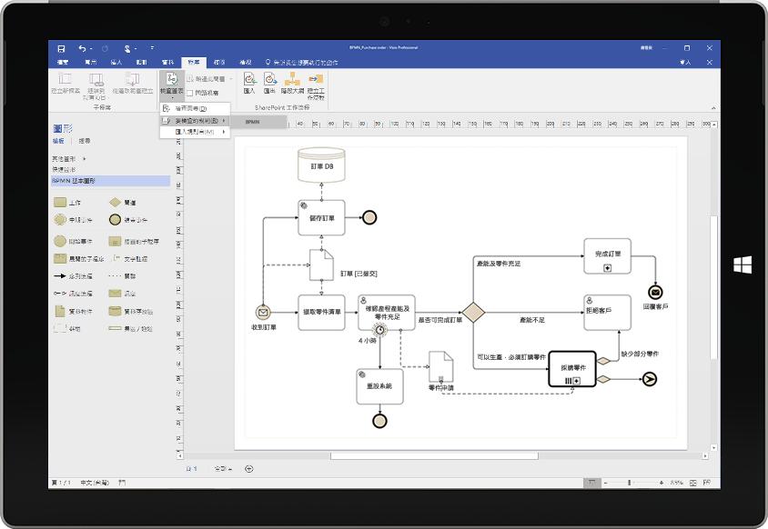 顯示 Visio 中的程序流程圖的 Microsoft Surface 平板電腦