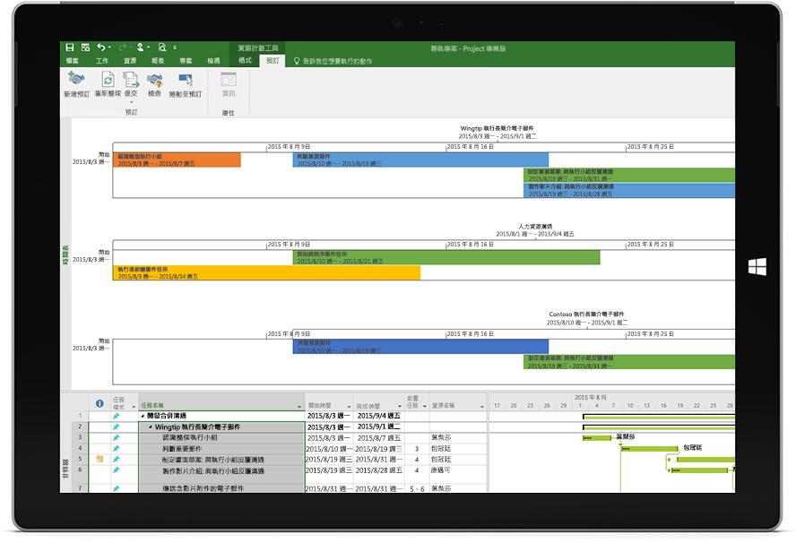 顯示 Project 專業版中的 Project 檔案含有專案時間表與甘特圖的 Microsoft Surface 平板電腦螢幕。