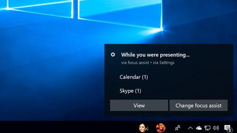 全新的「專注輔助」視窗顯示功能的設定,以及可在您專注時檢視最近活動的選項