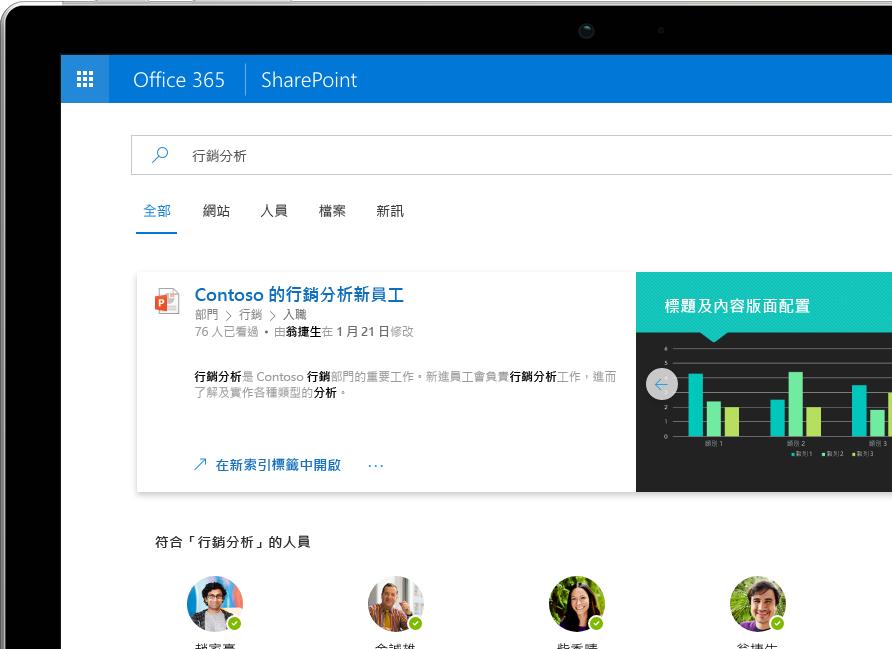顯示在 Surface Pro 上的 SharePoint 中的智慧搜尋與探索,當中顯示 Office 365 中的個人化結果