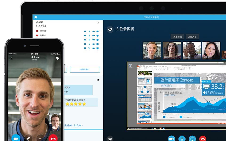 顯示具有出席者清單且正在進行中的商務用 Skype 會議的膝上型電腦螢幕一角