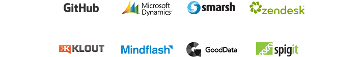 GitHub、Microsoft Dynamics、Smarsh、Zendesk、Klout、MindFlash、GoodData 和 Spigit App 的標誌,瀏覽 App 目錄以找出並連結 Yammer 商務 App