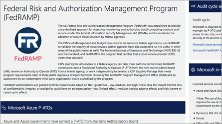 顯示 FISMA/FedRAMP 資訊的 Microsoft 信任中心頁面,閱讀 FISMA/FedRAMP 常見問題集