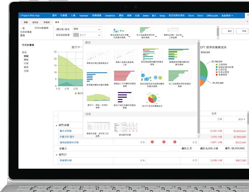 已開啟 Project 檔案並顯示報表和圖形的裝置