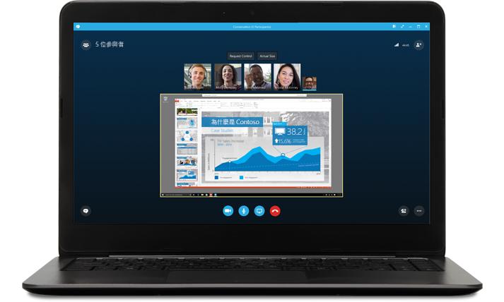 膝上型電腦顯示 Skype 上的會議,其中包含來電者圖片和簡報