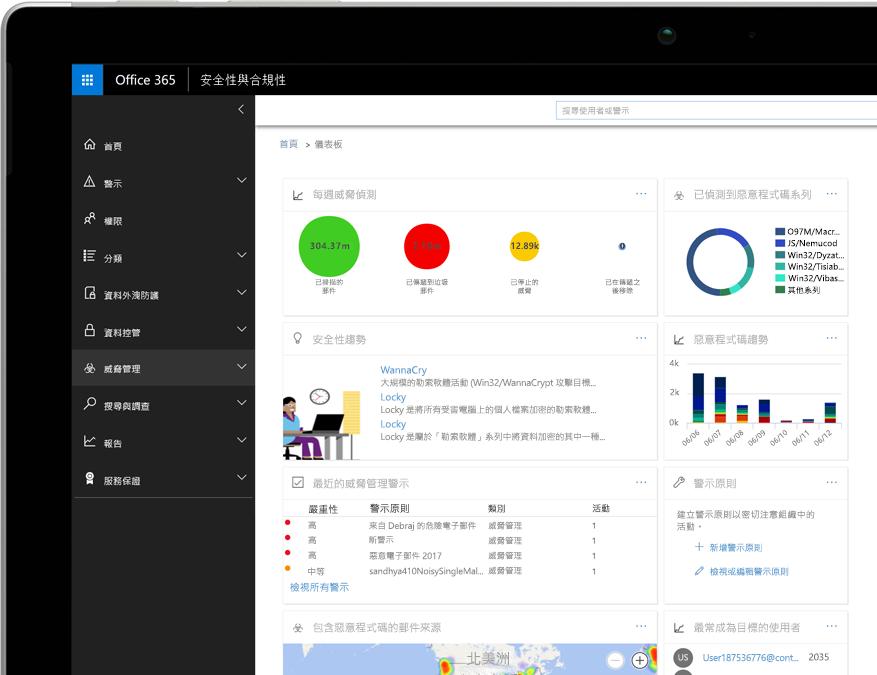 Windows 膝上型電腦上的 Office 365 威脅情報儀表板