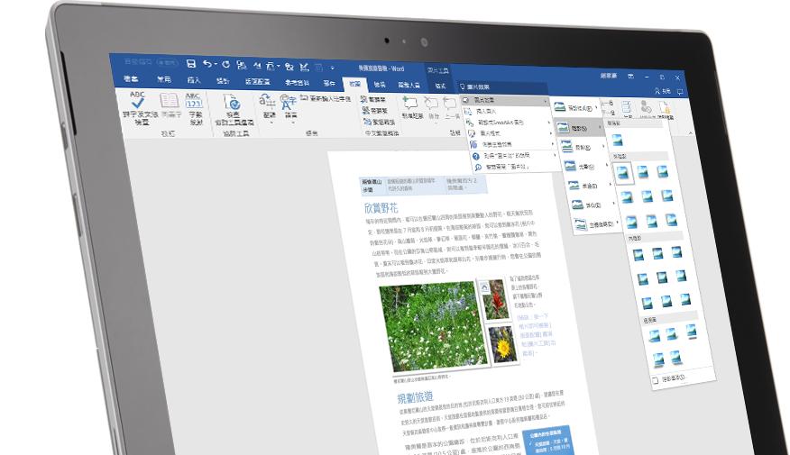 顯示 Word 文件中 [操作說明搜尋] 功能的 Surface 平板電腦