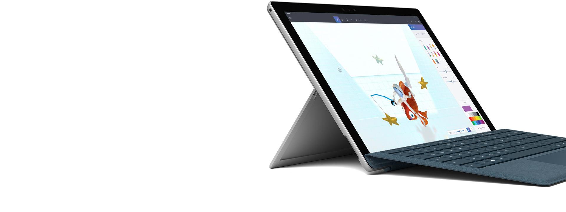 採用膝上型電腦模式的 Surface Pro 與手寫筆和實體鍵盤保護蓋。