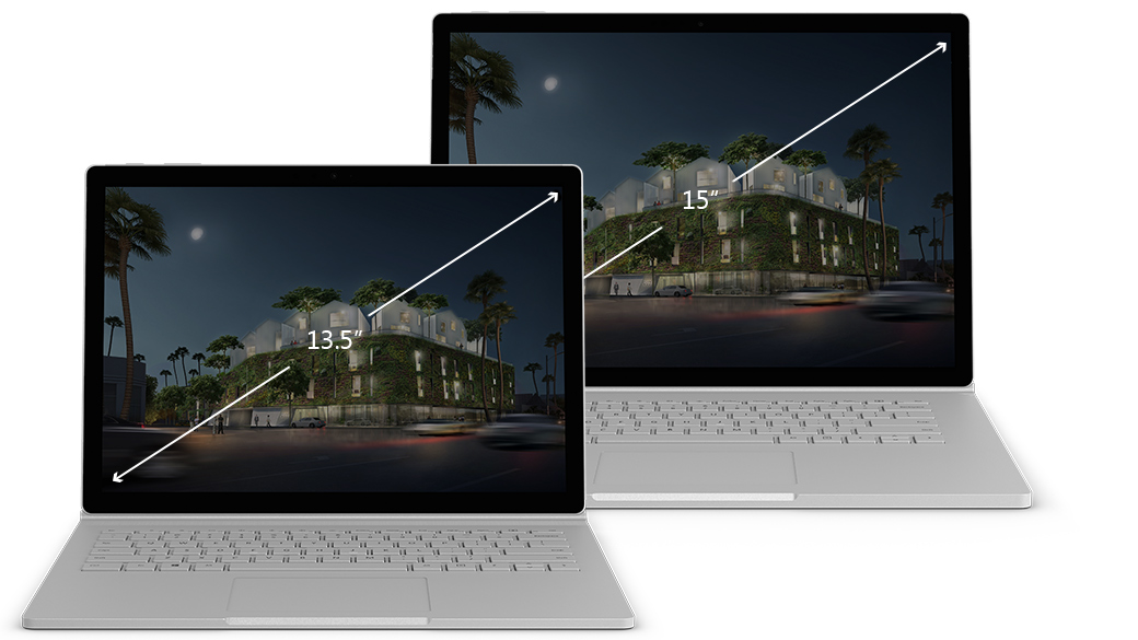 Surface Book 2 顯示器之間的尺寸比較