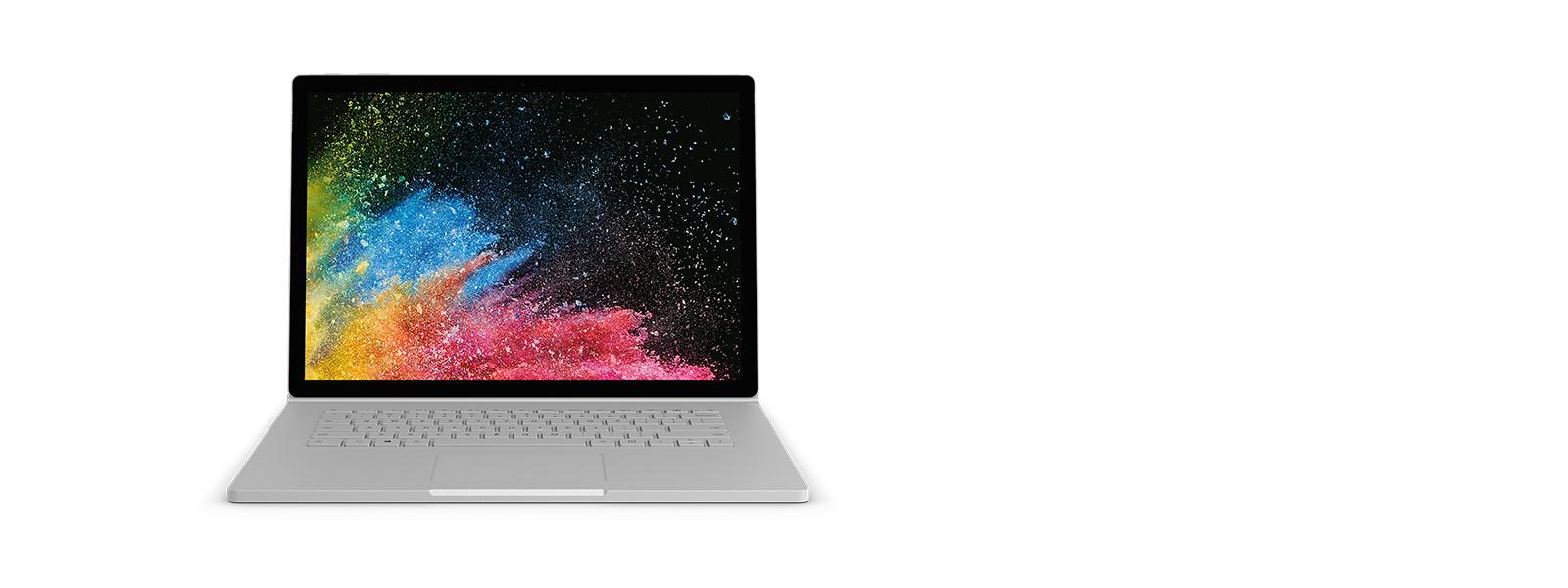 採用膝上型電腦模式的 Surface Book 2 與螢幕擷取畫面。