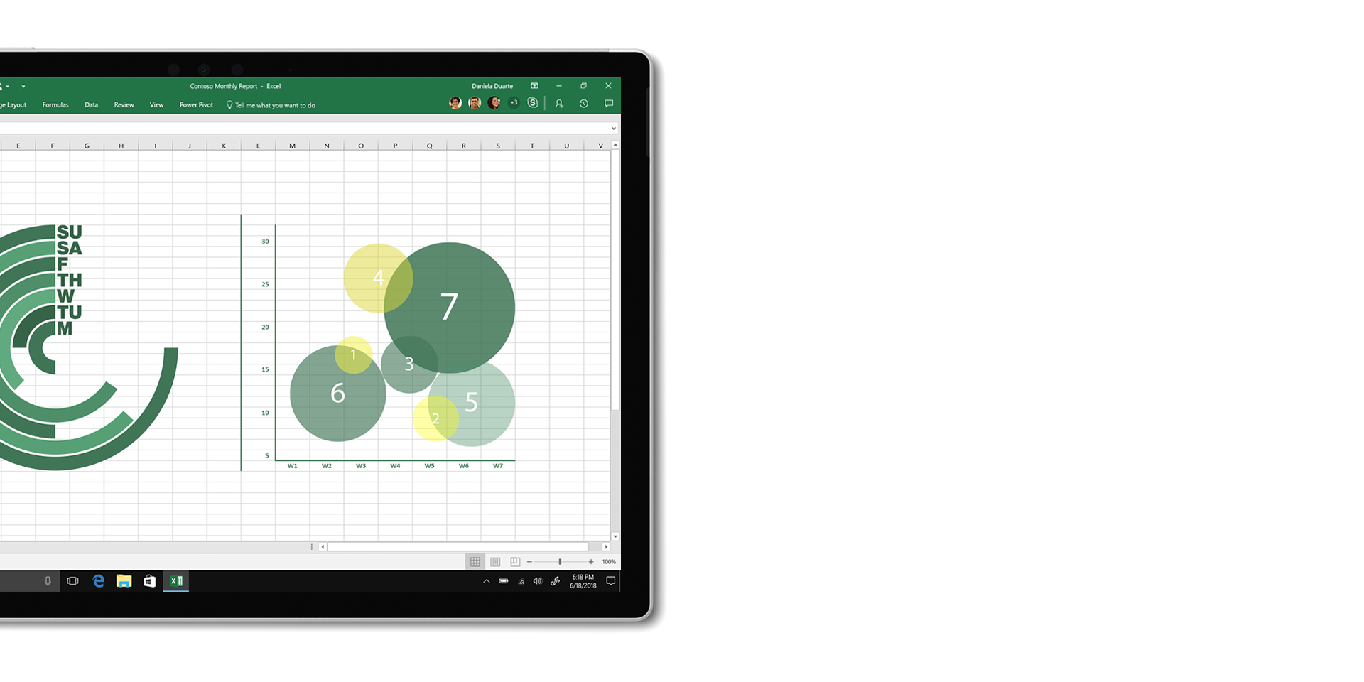 Excel 應用程式顯示在已從鍵盤拆下的 Surface Book 2 螢幕上。