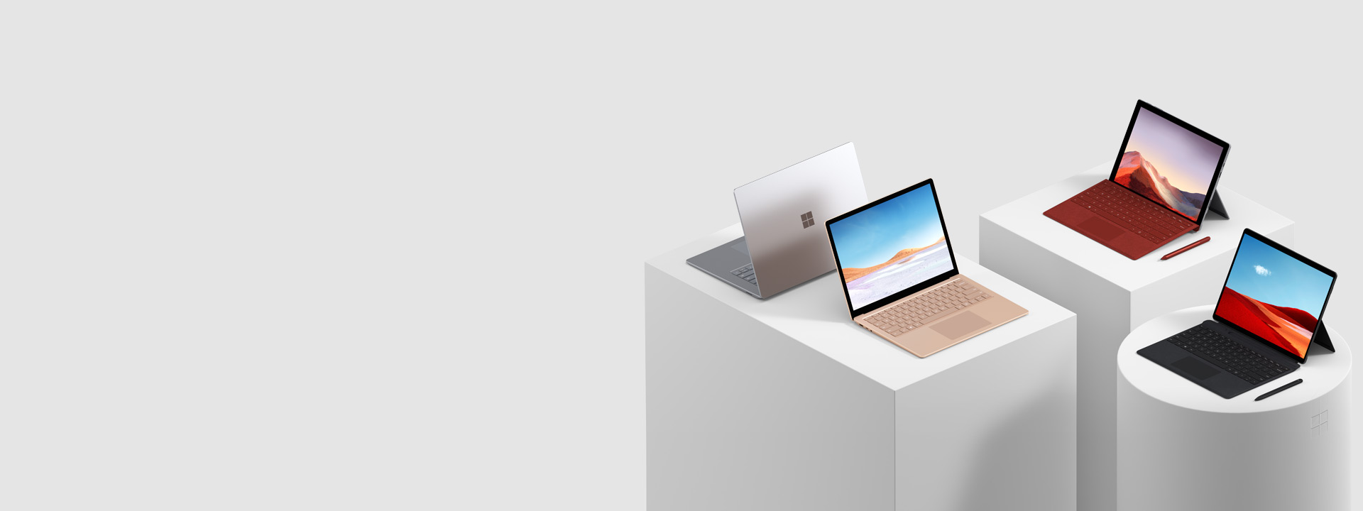 數台 Surface 電腦,其中包括 Surface Pro 7、Surface Pro X、Surface Book 2、Surface Studio 2 和 Surface Go