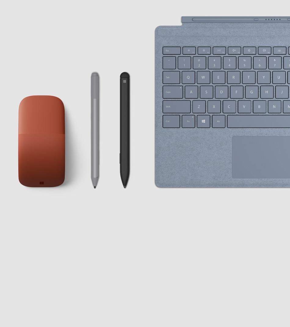 Surface 手寫筆、Surface 特製版實體鍵盤保護蓋和 Surface Arc Mouse