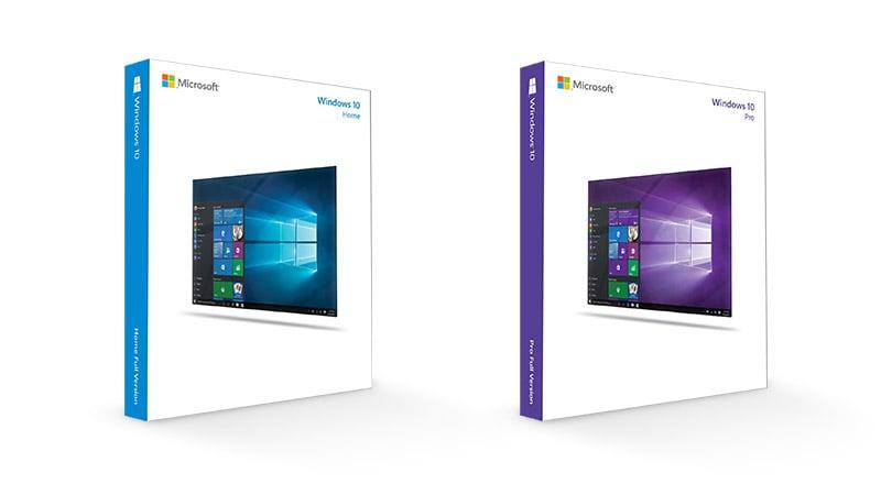 Windows 10 家用版和專業版